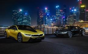 Обои BMW i8, ночной город, Frozen Yellow Edition