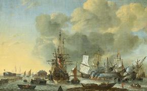 Обои парус, Конопачение Судна в Амстердаме, Reinier Nooms, масло, корабль, холст, картина