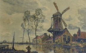 Картинка пейзаж, дом, река, лодка, картина, Мельница, Франк Богс, Frank Myers Boggs