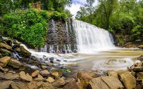 Картинка озеро, камни, водопад