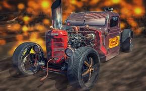 Картинка дизайн, фон, Tractor Car, FarmAll Rat Rod