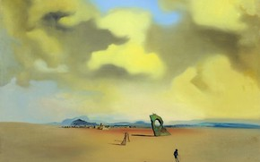 Картинка сюрреализм, картина, Сальвадор Дали, Salvador Dali, Призрак Вечером на Пляже