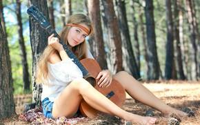 Обои Девушка, Гитара, Модель, Красотка, Красивая, Симпатичная, Позирует, Привлекательная, Милашка, Erica B, Xana D, Marianna Merkulova, ...