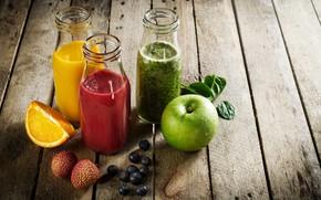 Картинка яблоко, апельсин, сок, напитки, фреш, личи, шпинат