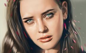 Картинка взгляд, девушка, лицо, рисунок, art, Katherine Langford