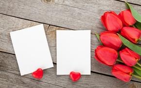 Картинка сердечки, тюльпаны, red, love, romantic, hearts, tulips, valentine's day