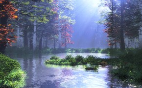 Картинка лес, природа, растительность, водоём, mountain pond