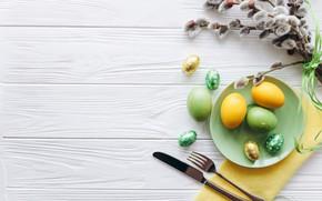 Картинка яйца, весна, пасха, Праздник, верба, spring, Easter, eggs, Holiday, top, столовые приборы, Cutlery