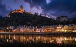 Картинка холм, Замок Кохем, Cochem Castle, река Мозель, Moselle River, ночь, здания, река, Кохем, Germany, Германия, ...