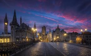 Картинка небо, облака, город, утро, Бельгия, архитектура, мостовая, Гент