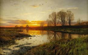 Картинка пейзаж, природа, картина, Петер Мёрк Мёнстед, Peder Mørk Mønsted, Закат над Водой