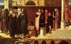 Картинка Munich, Saint Jean, Giovanni Bellini, Trois Histoires de Drusienne et de, L'Évangéliste, 1455, peinture sur …