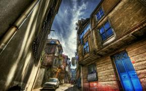 Картинка HDR, Улочка, Стамбул, Турция, Old street, Istanbul, Turkey, Старое здание