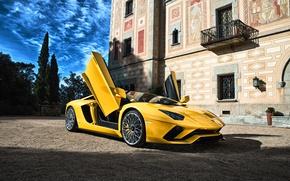 Картинка Lamborghini, суперкар, желтая, Aventador, ламборгини, авентадор
