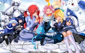 Картинка game, happy, bear, blizzard, neko, anime, cat, Grey, snow, asian, manga, Wendy, japanese, Fairy Tail, …