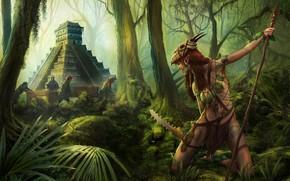 Обои арт, ситуация, The Guardian, пирамида, Illustrator, приключения, история, Markus Stadlober, фЭнтези, эльф