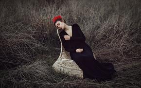 Обои цветы, лицо, фон, модель, волосы, кресло, платье