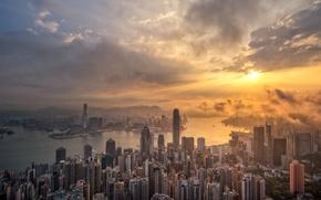 Картинка рассвет, Гонконг, утро, небоскрёбы, мегаполис, skyline, Hong Kong