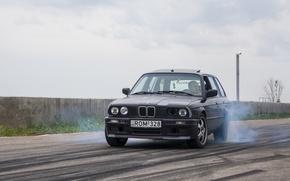 Картинка bmw, drift, smoke, e30, bourout