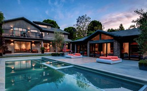 Картинка деревья, дизайн, дом, вилла, вечер, бассейн