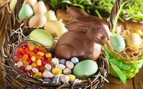 Картинка корзина, шоколад, яйца, кролик, конфеты, Пасха