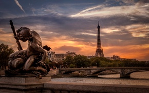 Картинка закат, река, Франция, Париж, Эйфелева башня, Paris, скульптура, мосты, France, Eiffel Tower, Мост Александра III, …