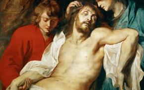 Картинка картина, религия, Питер Пауль Рубенс, мифология, Pieter Paul Rubens, Оплакивание Христа Богоматерью и Иоанном