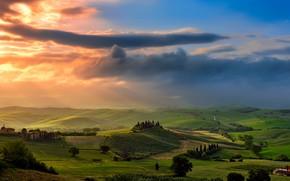 Обои облака, долина, небо, Италия, свет, Тоскана, поля