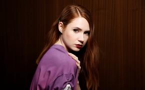Обои взгляд, девушка, лицо, милая, волосы, актриса, рыжая, красивая, рыжеволосая, красные губы, Карен Гиллан, Karen Gillan