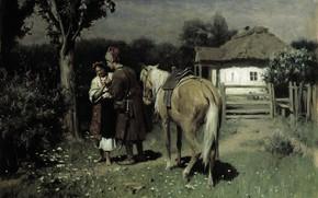 Обои холст, Николай Пимоненко, Украинская Ночь, масло, картина, свидание