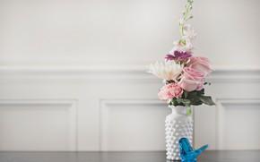 Обои цветы, ваза, букет