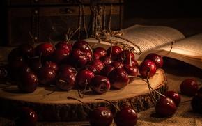 Картинка вишня, ягоды, книга, черешня