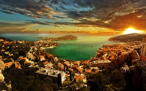 Обои закат, French Riviera, деревья, дома, небо, лучи, Монако, облака, горизонт, солнце, Лазурный Берег, яхты, лодки, ...