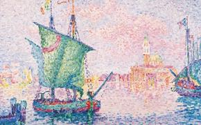 Картинка картина, Поль Синьяк, пуантилизм, Венеция. Розовое Облако