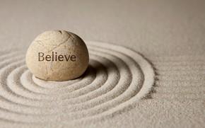 Обои песок, камни, zen, believe, sand, stone
