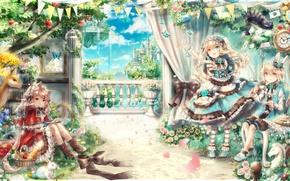 Картинка kawaii, girl, rose, fantasy, flower, dress, neko, anime, cat, beautiful, pretty, boy, animal, castle, asian, …