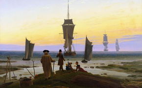 Картинка корабль, картина, парус, аллегория, Каспар Давид Фридрих, Этапы Жизни