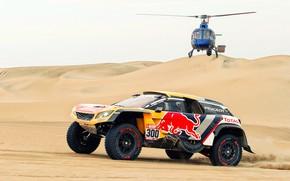 Обои Песок, Авто, Спорт, Машина, Скорость, Вертолет, Гонка, Peugeot, Red Bull, 300, Rally, Dakar, Дакар, Внедорожник, ...