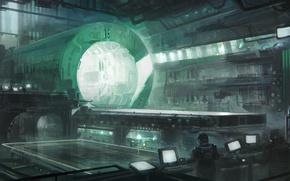 Обои лаборатория, площадка, мониторы, исследования, experiments