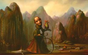 Картинка горы, велосипед, попугай, Сюрреализм, Лазарев И.А