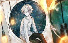 Картинка фон, аниме, парень, белая кофта
