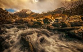 Картинка облака, горы, река, поток, каскад, Уэльс, Сноудония