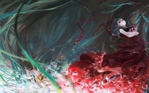 Картинка вода, пузыри, красное платье, зеленые волосы, touhou, Kagiyama Hina, Touhou Project, Проект Восток, Maribel Han, ...