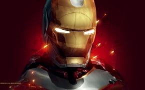 Обои красный, фон, фантастика, арт, искры, костюм, шлем, Железный человек, Iron Man, Tony Stark