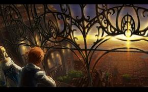 Картинка свет, закат, мост, город, река, дома, решетка, панорама, балкон, парень, двое, жрица, вид сверху