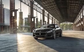 Картинка авто, солнце, город, Maserati, Quattroporte, GTS, GranSport
