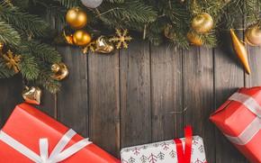 Обои подарки, деревянный фон, елочные игрушки, new year, happy new yaer, елка, новый год, christmas