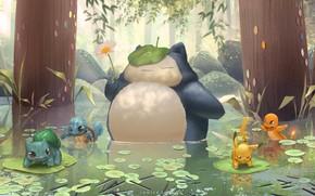 Картинка настроение, аниме, арт, покемон, детская, Janice Sung, My Neighbour Snorlax