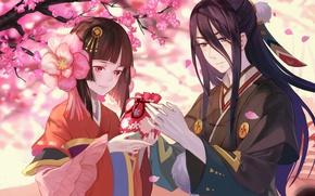 Картинка love, anime, sakura, japanese, kimono, bishojo, Onmyouji