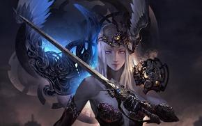 Обои девушка, арт, меч, фэнтези, перья